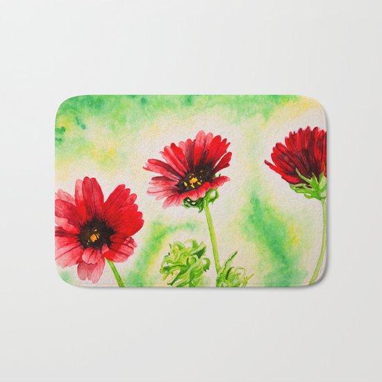 Three Red Flowers Bath Mat