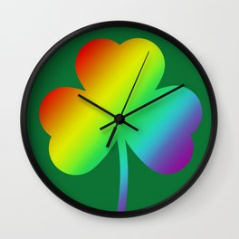 Rainbow Shamrock St Patricks Day Gift Wall Clock