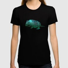 Watercolor Armadillo X-LARGE Black Womens Fitted Tee