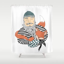 Man and fox. Shower Curtain