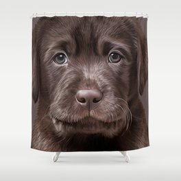 Drawing puppy Labrador Shower Curtain