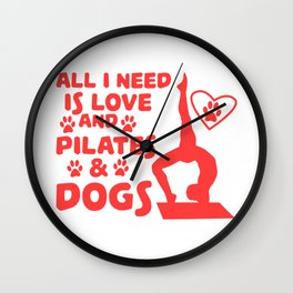 Love of dogs and yoga T-shirt Design Wall Clock