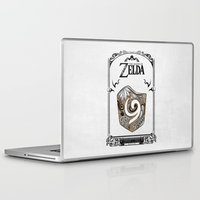the legend of zelda Laptop & iPad Skins featuring Zelda legend - Kokiri shield by Art & Be
