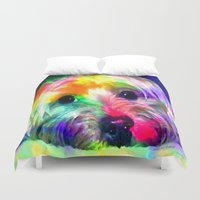 yorkie Duvet Covers featuring Colorful Yorkie By Annie Zeno  by Annie Zeno