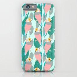 Trendy Pink Rainbow Finch Bird & Green Foliage Design iPhone Case