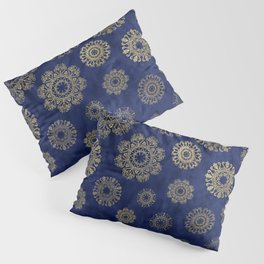 Let it snow, gold lace snowflakes in the night sky Pillow Sham