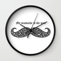 mustache Wall Clocks featuring Mustache by Rucifer