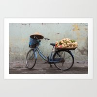 Bicycle loaded with vegetables Art Print