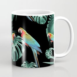 Parrots in the Tropical Jungle Night #2 #tropical #decor #art #society6 Coffee Mug