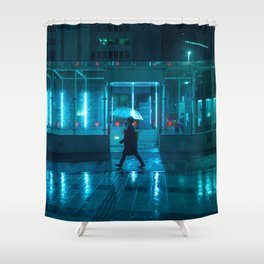 Rain over Neo Tokyo Shower Curtain