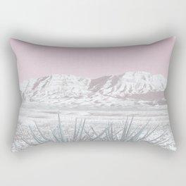 Mojave Snow // Red Rock Canyon Las Vegas Desert Landscape Light Pink Sky Vintage Photography Rectangular Pillow