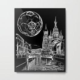 Football moon over russia Metal Print