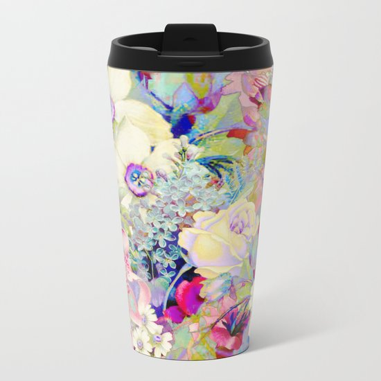 summery floral Metal Travel Mug