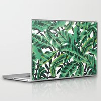 gray Laptop & iPad Skins featuring Tropical Glam Banana Leaf Print by Nikki