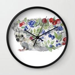 hedgehog with berries Wall Clock