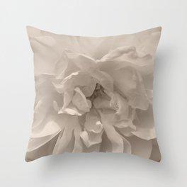 Rose Macro Sepia Creme Throw Pillow