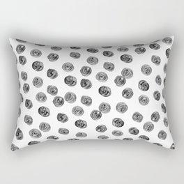 Hand painted black white watercolor brushstrokes polka dots Rectangular Pillow