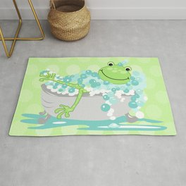 Frog in Bath Tub Kids Shower Bathroom Art Rug