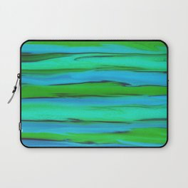 Apple Green, Seafoam, and Azure Blue Stripes Abstract Laptop Sleeve