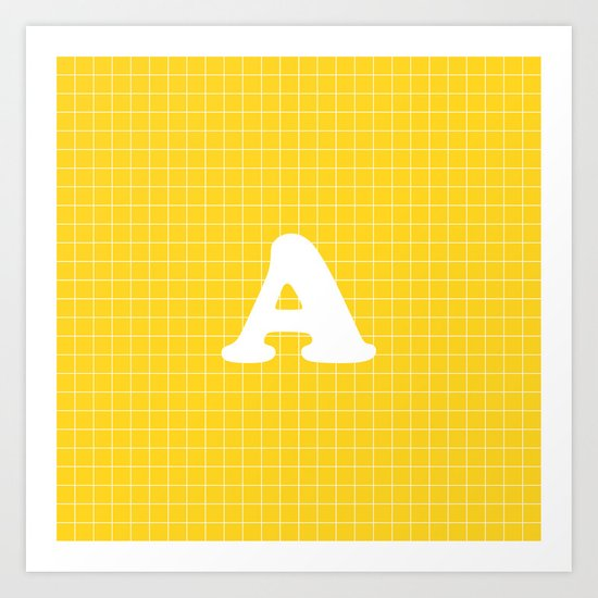 Monogram A on Grid - white on yellow by lovelylifestyle
