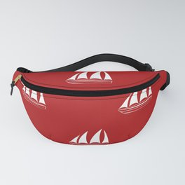 White Sailboat Pattern on red background Fanny Pack