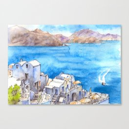Greece ink & watercolor illustration Canvas Print