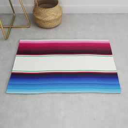 Traditional Mexican Serape in White Multi Rug