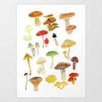 mushrooms Art Prints featuring Mushrooms by Lara Paulussen