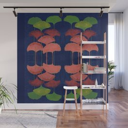 Ginkgo Leaf gouache painting design art print Wall Mural