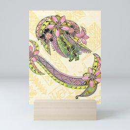 Polynesian Hand Drawn Floral Watercolor Threads Mini Art Print