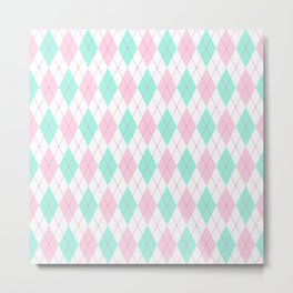 White Pink Green Pastel Argyle Pattern Metal Print