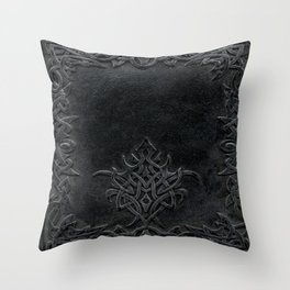 Tribal Edging Book Cover Dark Throw Pillow