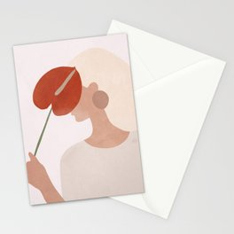 Lady with a Red Leaf Stationery Cards