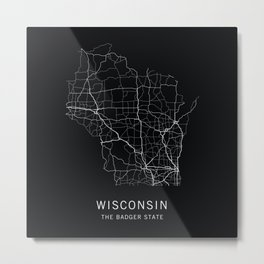 Wisconsin State Road Map Metal Print