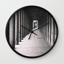 Arcade with columns in Copenhagen, architecture black and white photography Wall Clock