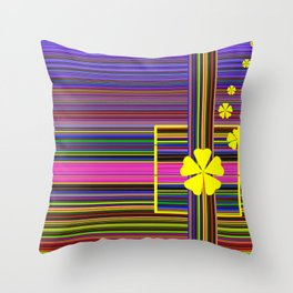 GRAPHIC POP of FLOWERS Throw Pillow