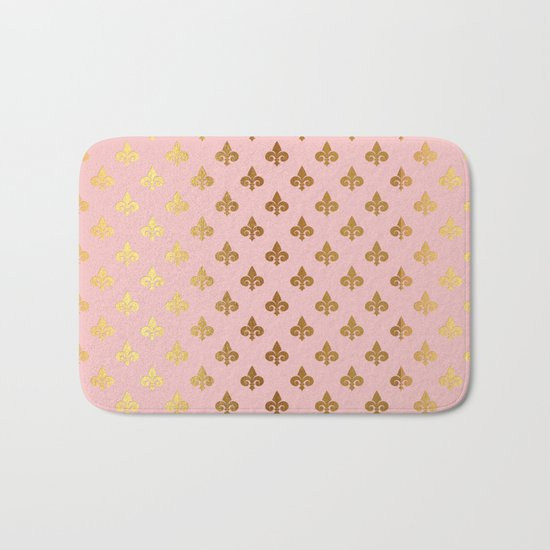 Royal gold ornaments on pink backround Bath Mat