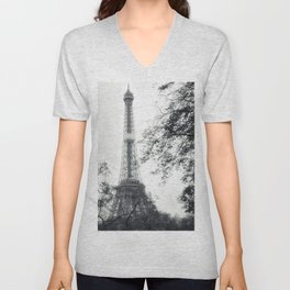 France, Paris, Eifel Tower, Black and White, iPhone, Black and White Unisex V-Neck