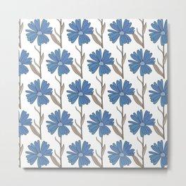 Flowers in blues and browns Metal Print