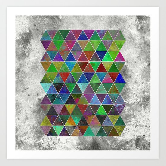 Textured Triangles - Abstract, textured, geometric, painting Art Print