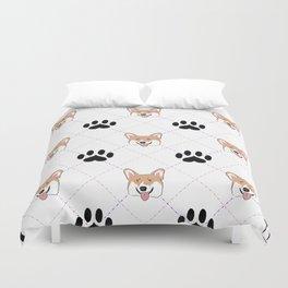 Corgi paw print pattern Duvet Cover