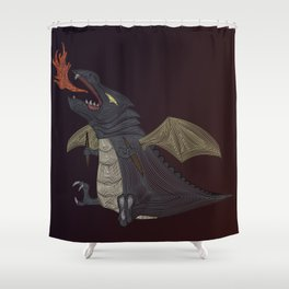 Geometric Baby Dragon Shower Curtain