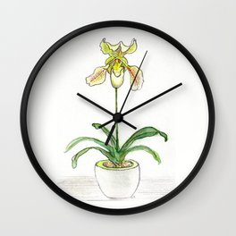 Slipper Orchid Wall Clock