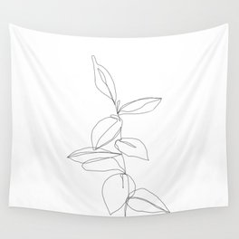 One line minimal plant leaves drawing - Berry Wall Tapestry