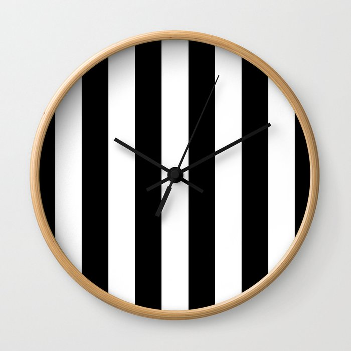 Stripe Black And White Vertical Line Bold Minimalism Wall Clock