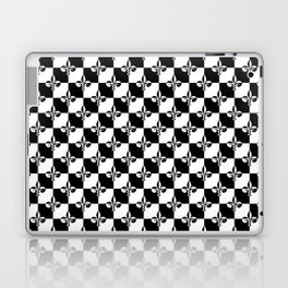 Black and White Checkerboard Checked Squares with French Fleur de Lis Laptop & iPad Skin