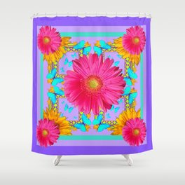 Lavender Lilac Pink Flower Blue Butterfly Yellow Floral Shower Curtain
