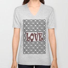 Pantone Red Pear LOVE XOs (Hugs and Kisses) Typography Art Unisex V-Neck