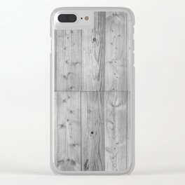 Wood Planks in black and white Clear iPhone Case