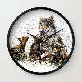 Good Morning wolf family watercolor Wall Clock